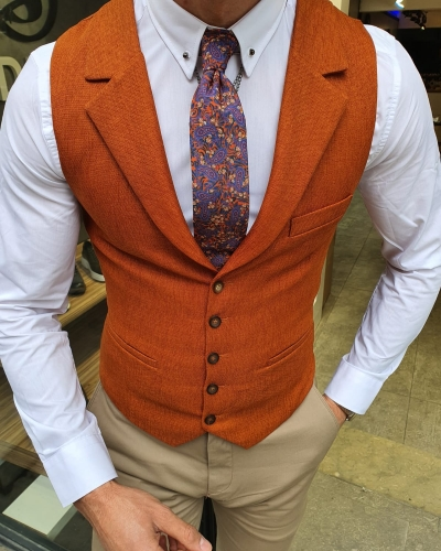 Cinnamon Slim Fit Vest by GentWith.com with Free Worldwide Shipping