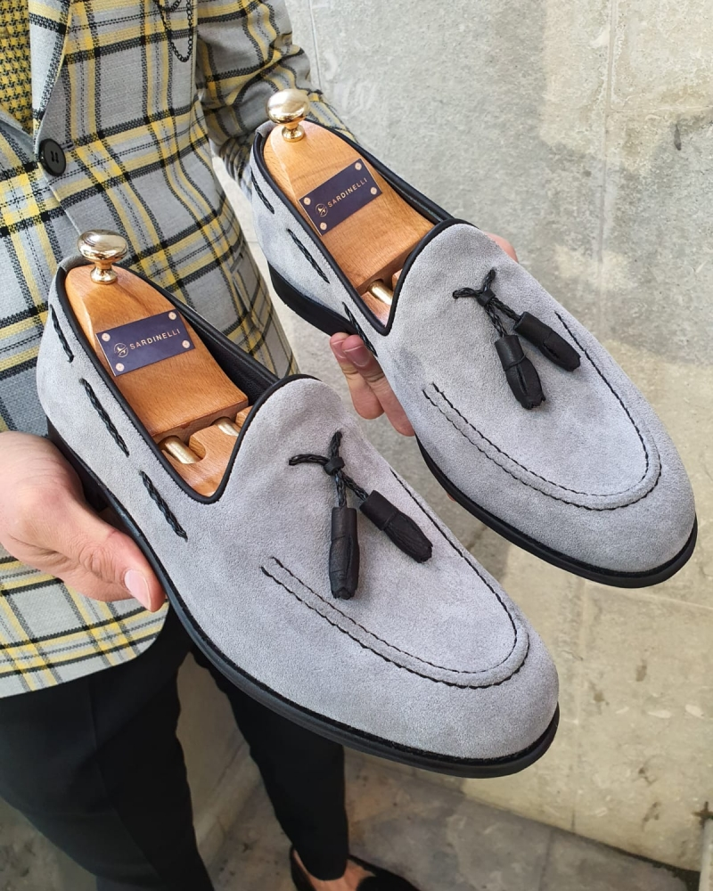 Gray Suede Tassel Loafer by GentWith.com with Free Worldwide Shipping