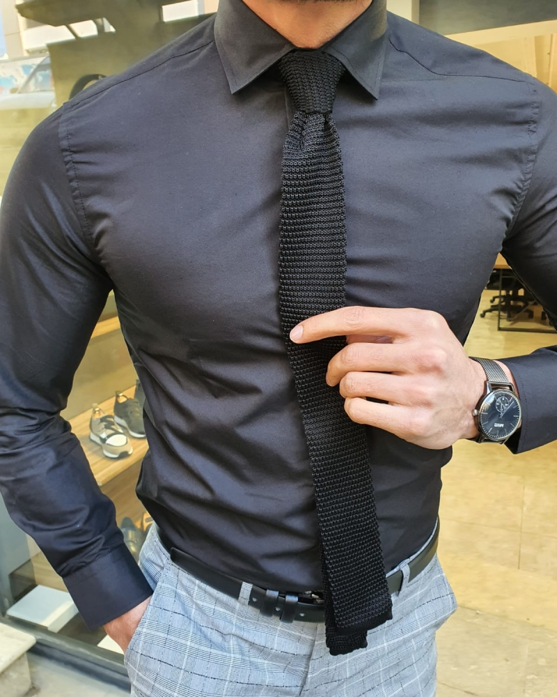 Black Slim Fit Cotton Shirt by GentWith.com with Free Worldwide Shipping