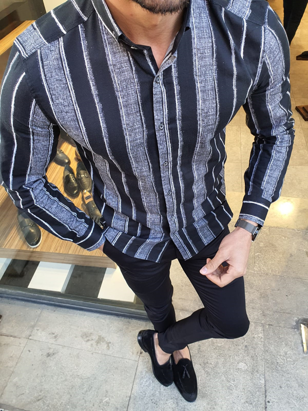 Black Slim Fit Striped Cotton Shirt by GentWith.com with Free Worldwide Shipping