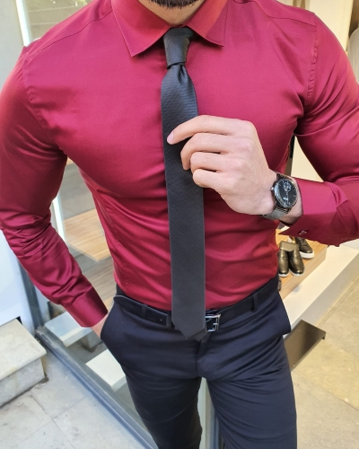 Burgundy Slim Fit Cotton Shirt by GentWith.com with Free Worldwide Shipping