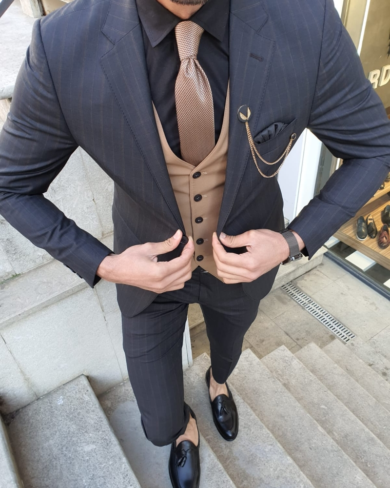 Camel Slim Fit Suit by GentWith.com with Free Worldwide Shipping