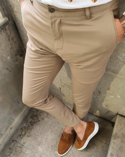 Camel Slim Fit Pants by GentWith.com with Free Worldwide Shipping