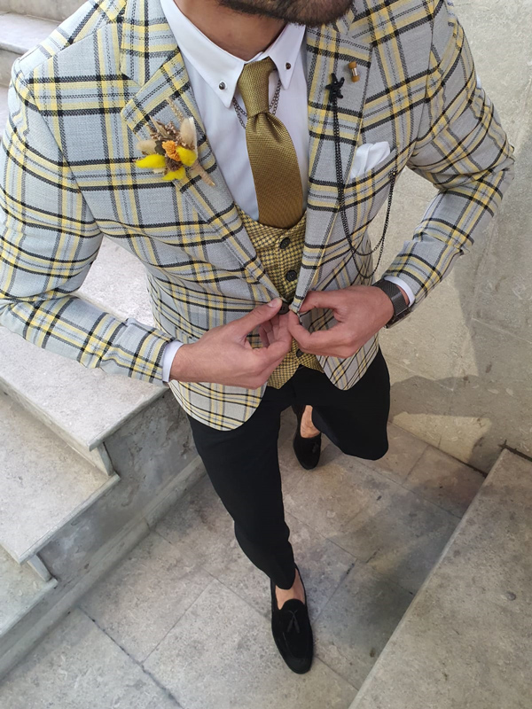 Yellow Slim Fit Plaid Check Suit by GentWith.com with Free Worldwide Shipping
