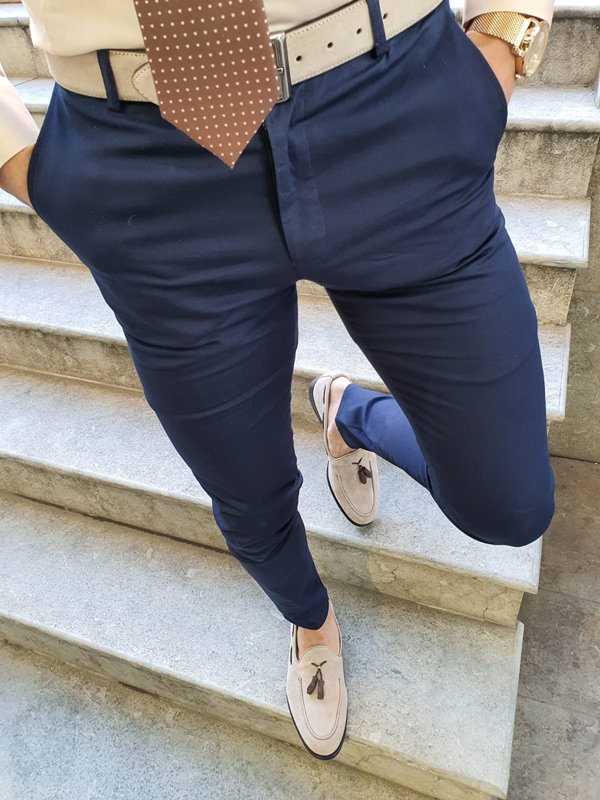 Navy Blue Pants by GentWith.com with Free Worldwide Shipping