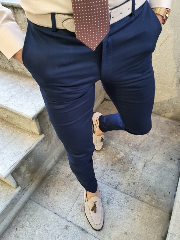 Navy Blue Slim Fit Pants by GentWith.com with Free Worldwide Shipping