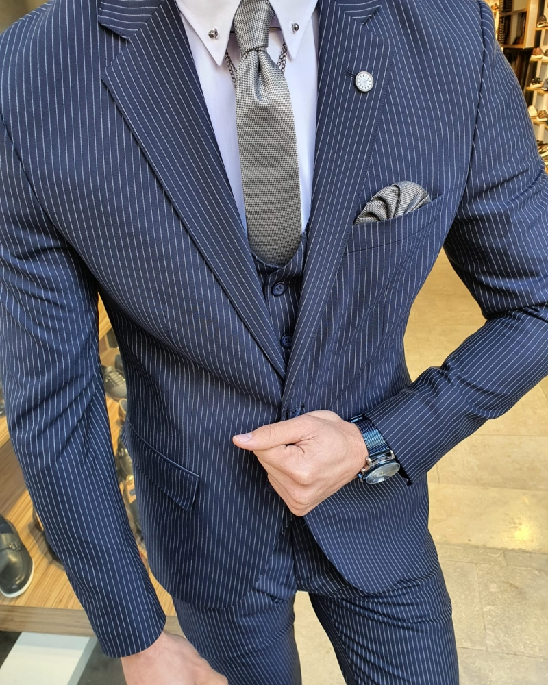 Navy Blue Slim Fit Pinstripe Suit by GentWith.com with Free Worldwide Shipping
