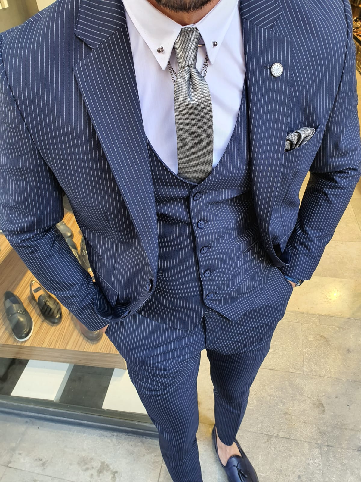 Buy Navy Blue Slim Fit Pinstripe Suit by GentWith.com with Free Shipping