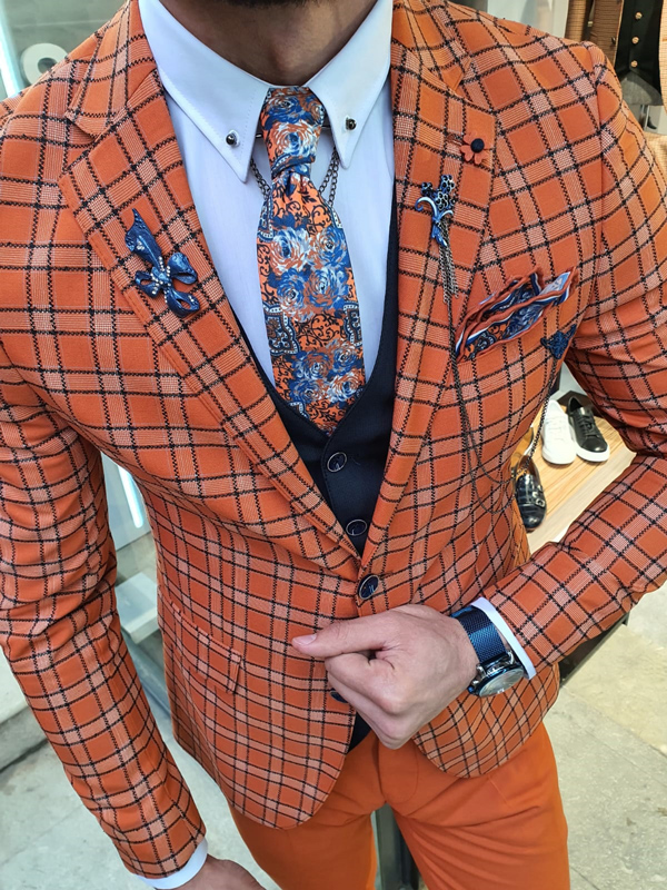 Orange Slim Fit Plaid Suit by GentWith.com with Free Worldwide Shipping