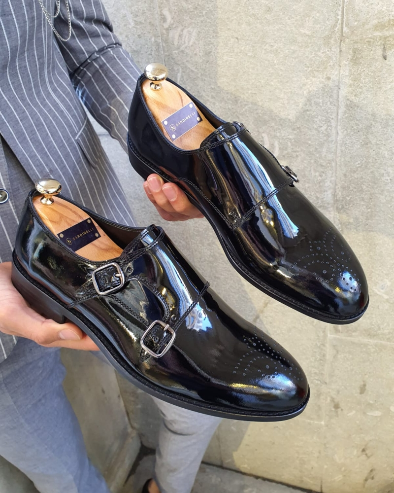 Black Classic Double Monk Strap by GentWith.com with Free Worldwide Shipping