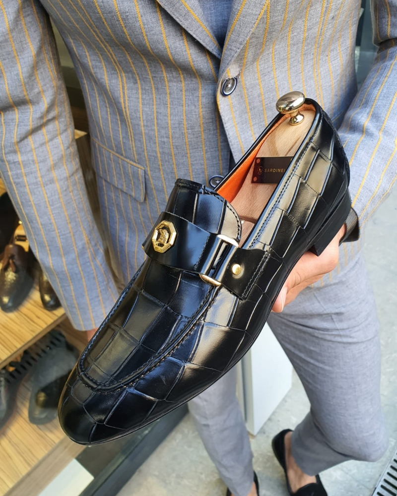 Black Leather Buckle Loafer by GentWith.com with Free Worldwide Shipping