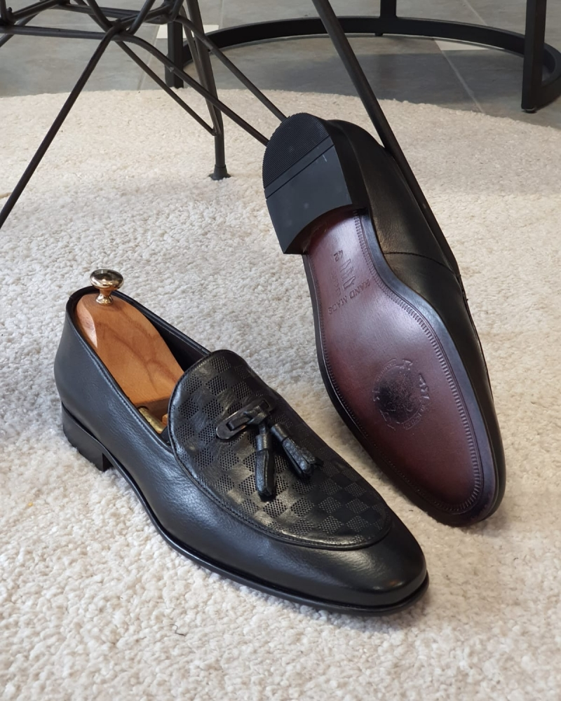 Black Tassel Loafers by GentWith.com with Free Worldwide Shipping