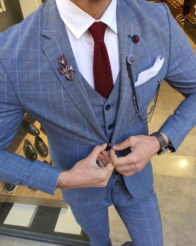 Blue Slim Fit Plaid Suit by GentWith.com with Free Worldwide Shipping