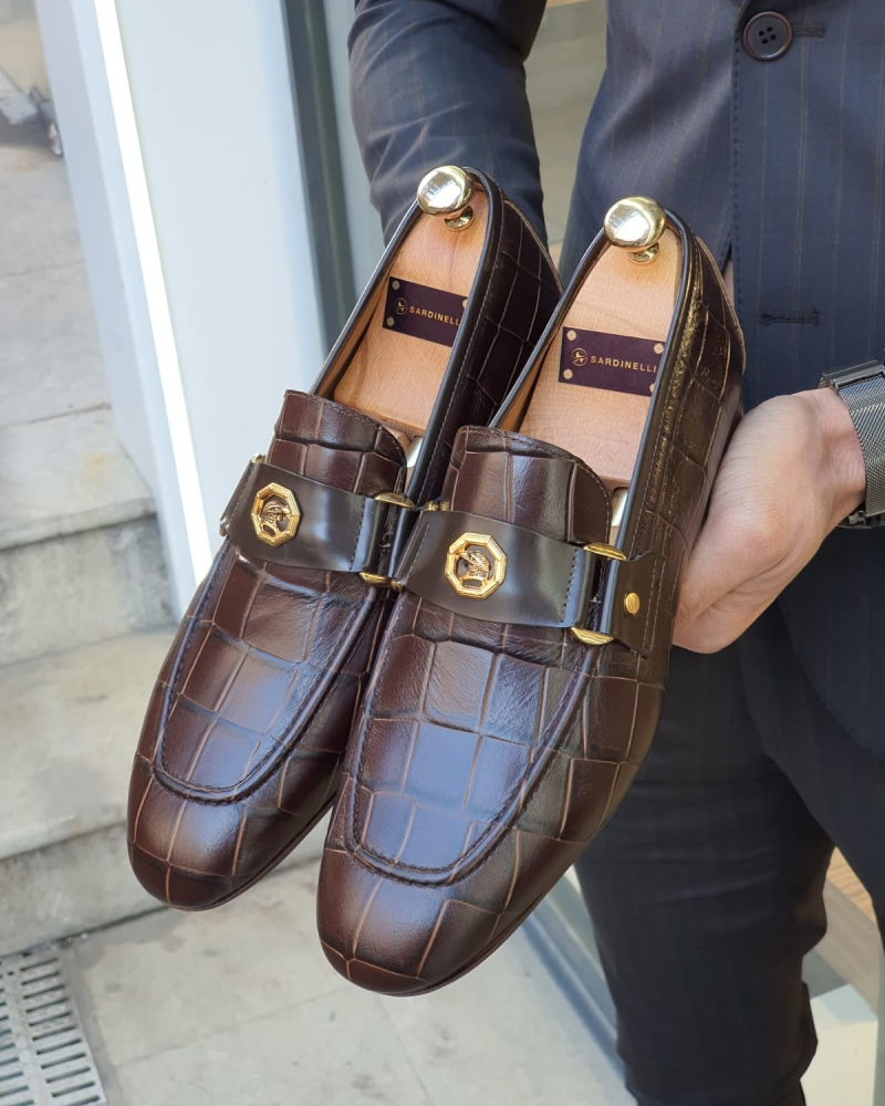 Brown Leather Buckle Loafer by GentWith.com with Free Worldwide Shipping
