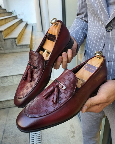 Burgundy Tassel Loafer by GentWith.com with Free Worldwide Shipping