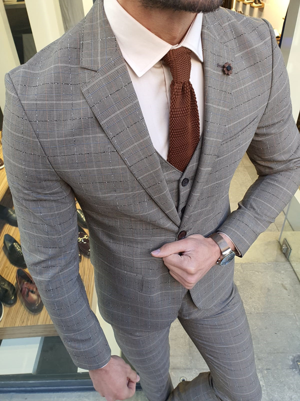 Camel Slim Fit Plaid Suit by GentWith.com with Free Worldwide Shipping