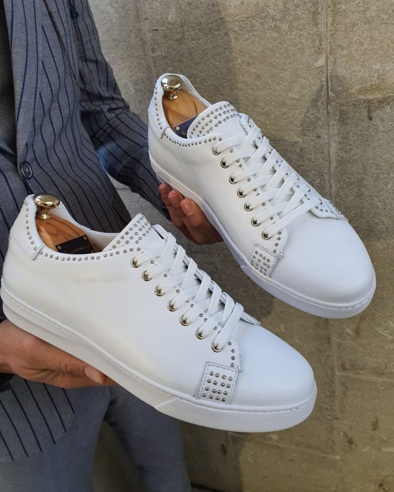 White Lace Up Sneakers by GentWith.com with Free Worldwide Shipping