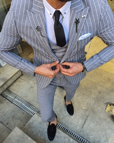 White Slim Fit Pinstripe Suit by GentWith.com with Free Worldwide Shipping