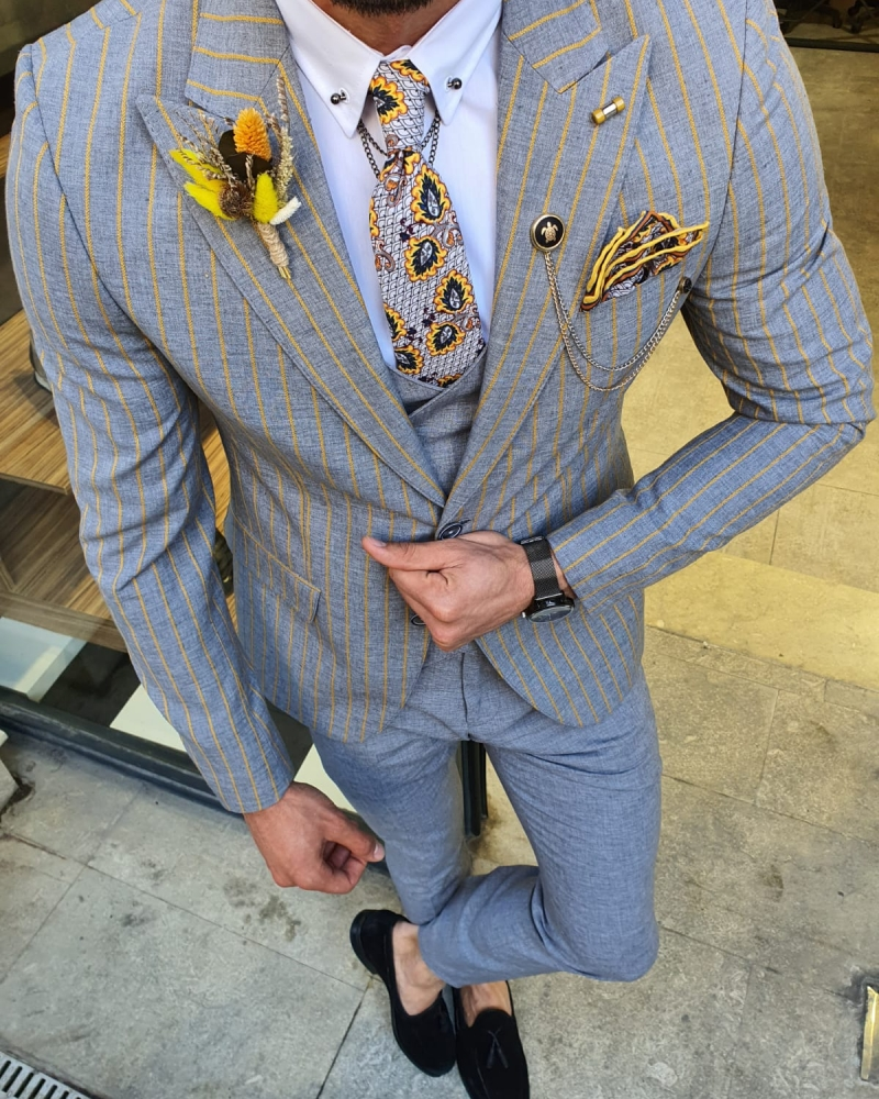 Yellow Slim Fit Pinstripe Suit by GentWith.com with Free Worldwide Shipping