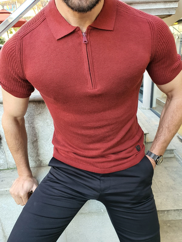 Claret Red Slim Fit Collar Neck Zipper Knitwear T-Shirt by GentWith.com with Free Worldwide Shipping