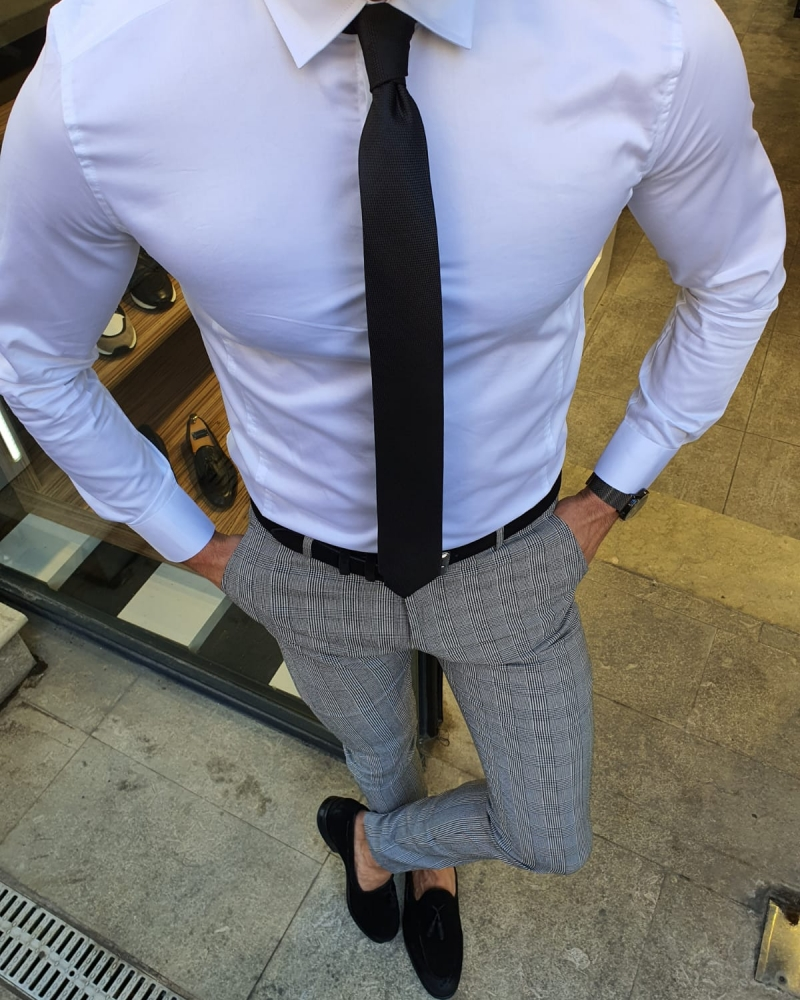 White Slim Fit Cotton Shirt by GentWith.com with Free Worldwide Shipping
