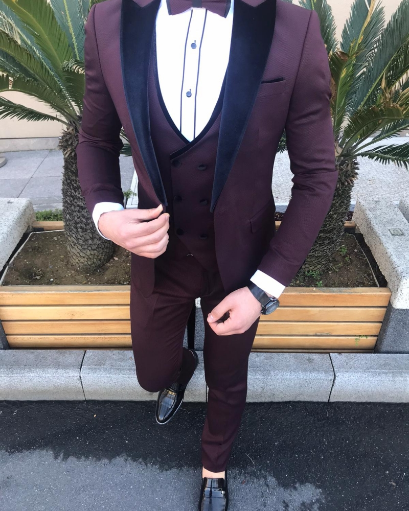 Burgundy Slim Fit Velvet Peak Lapel Tuxedo by GentWith.com with Free Worldwide Shipping
