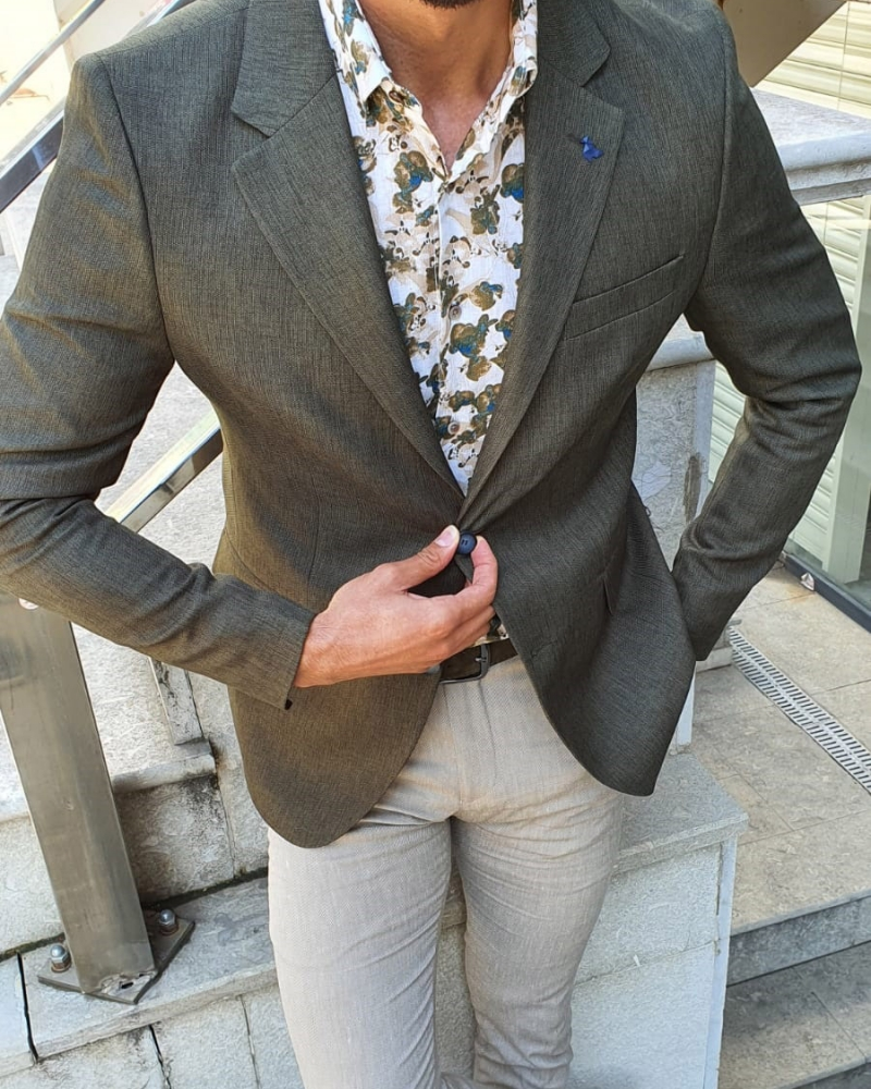 Green Slim Fit Blazer by GentWith.com with Free Worldwide Shipping