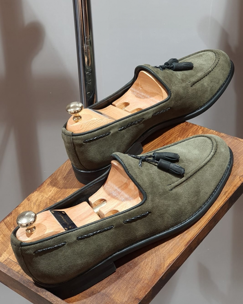 Green Suede Tassel Loafers by GentWith.com with Free Worldwide Shipping