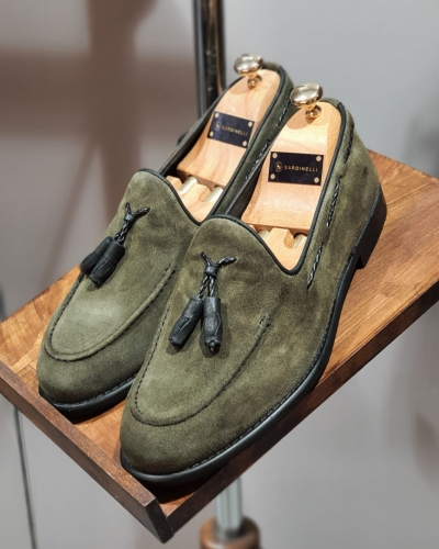Khaki Suede Tassel Loafers by GentWith.com with Free Worldwide Shipping
