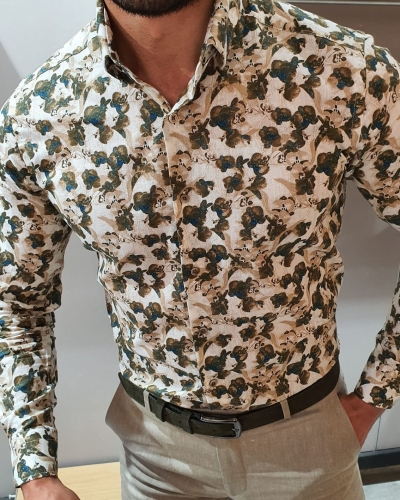 Beige Floral Shirt by GentWith.com with Free Worldwide Shipping