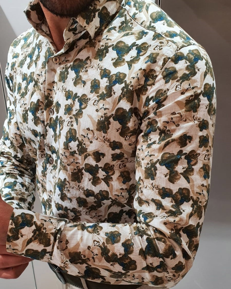 Beige Slim Fit Floral Shirt by GentWith.com with Free Worldwide Shipping