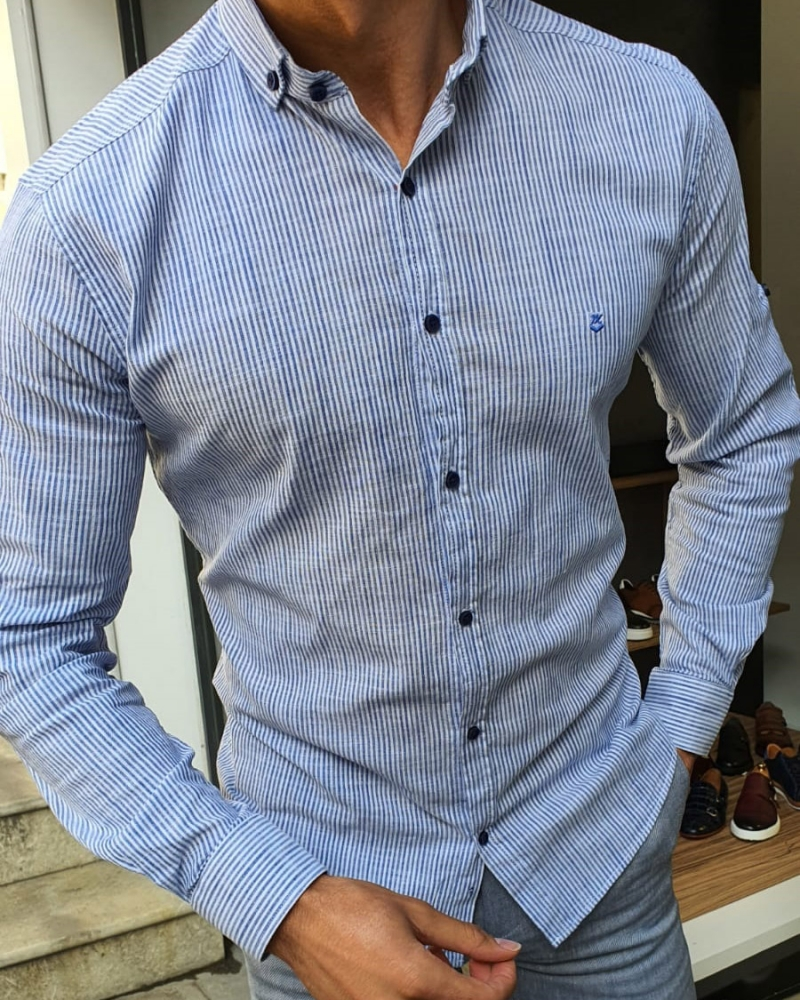 Blue Slim Fit Pinstripe Shirt by GentWith.com with Free Worldwide Shipping