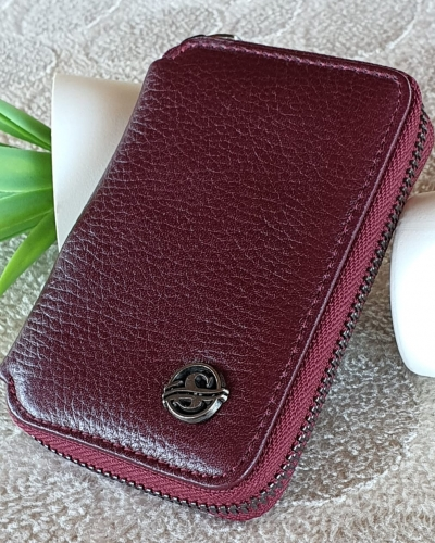 Burgundy Zippered Leather Wallet by GentWith.com with Free Worldwide Shipping