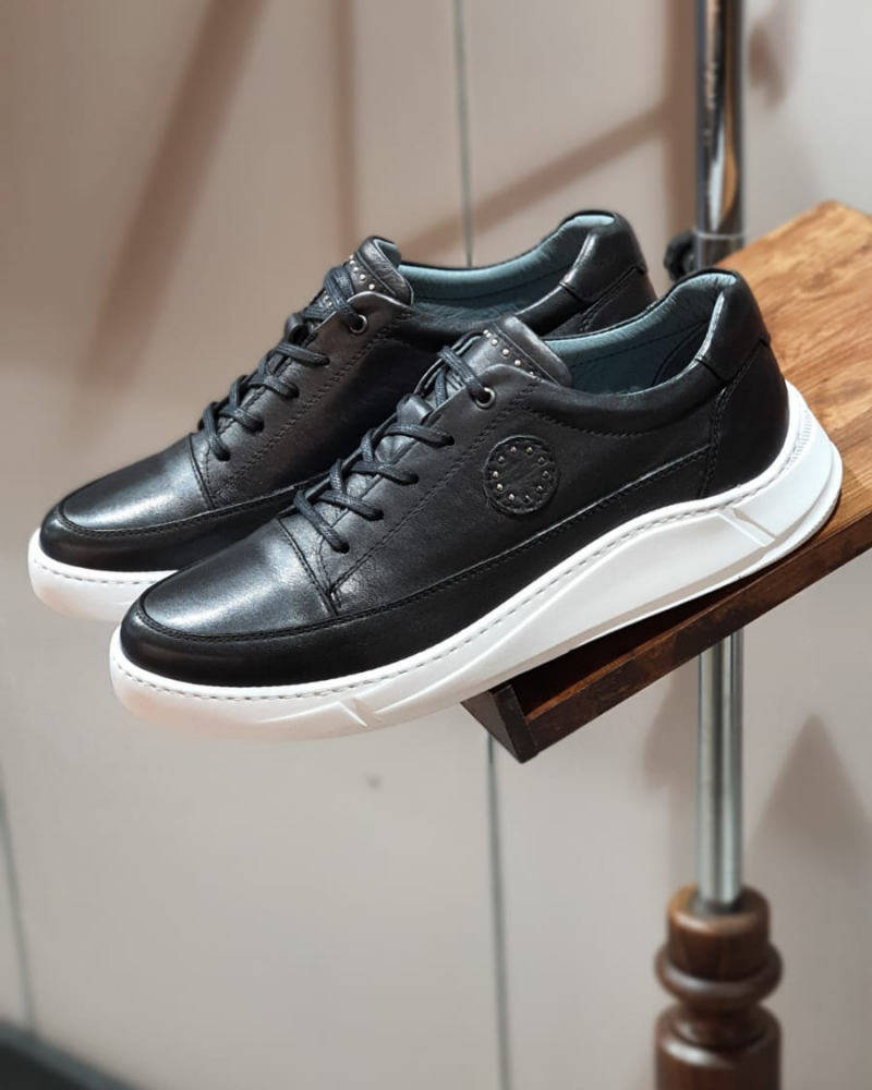 Black Mid-Top Sneakers by GentWith.com with Free Worldwide Shipping