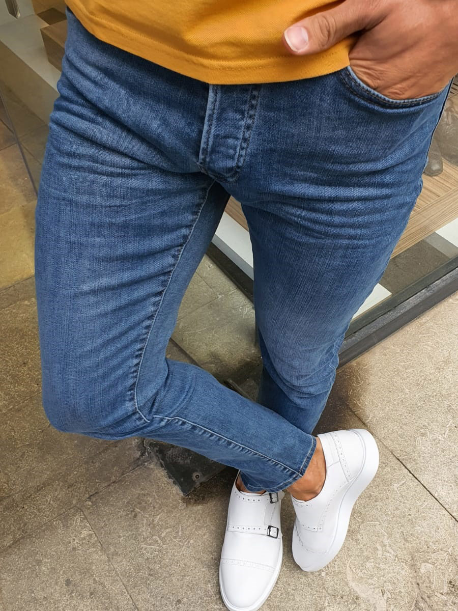Blue Handmade Jeans by GentWith.com with Free Worldwide Shipping