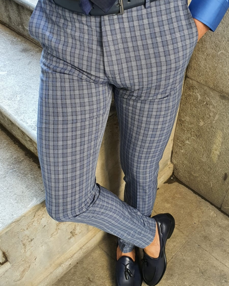 Navy Blue Plaid Pants by GentWith.com with Free Worldwide Shipping
