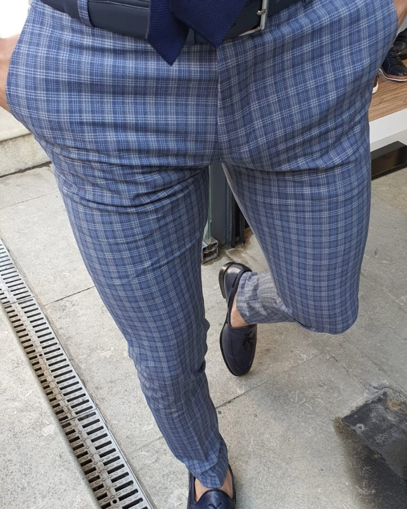 Navy Blue Slim Fit Plaid Pants by GentWith.com with Free Worldwide Shipping