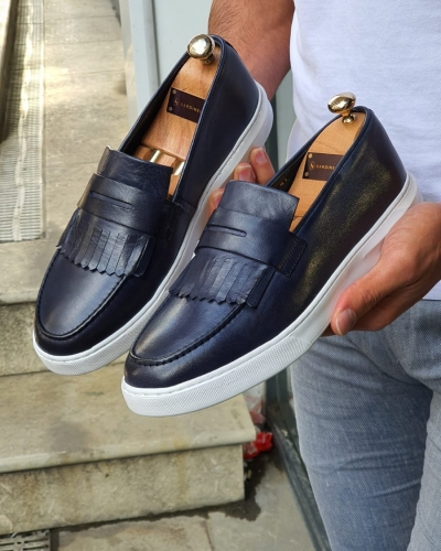 Navy Blue Kilt Loafers by GentWith.com with Free Worldwide Shipping