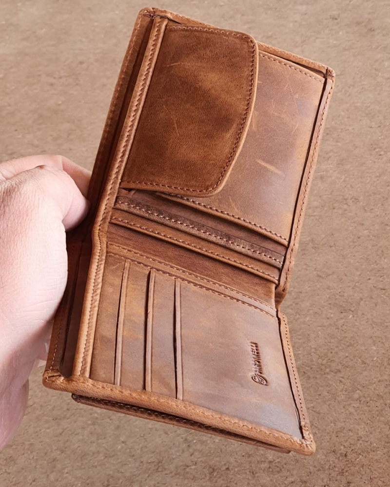 Tan Leather Wallet by GentWith.com with Free Worldwide Shipping