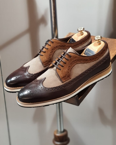 Brown Suede Wingtip Derby by GentWith.com with Free Worldwide Shipping