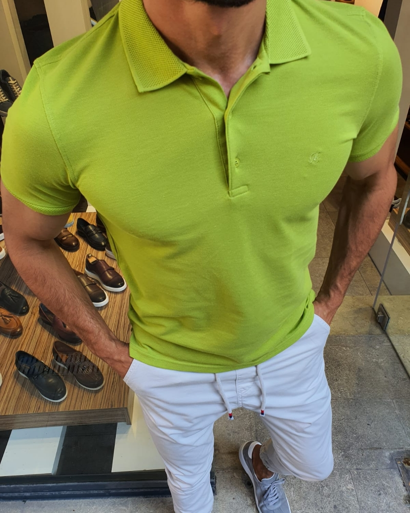 Green Slim Fit Polo T-Shirt for Men by GentWith.com with Free Worldwide Shipping