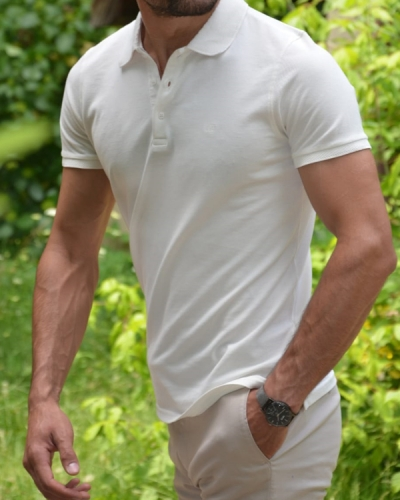 White Slim Fit Polo T-Shirt by GentWith.com with Free Worldwide Shipping