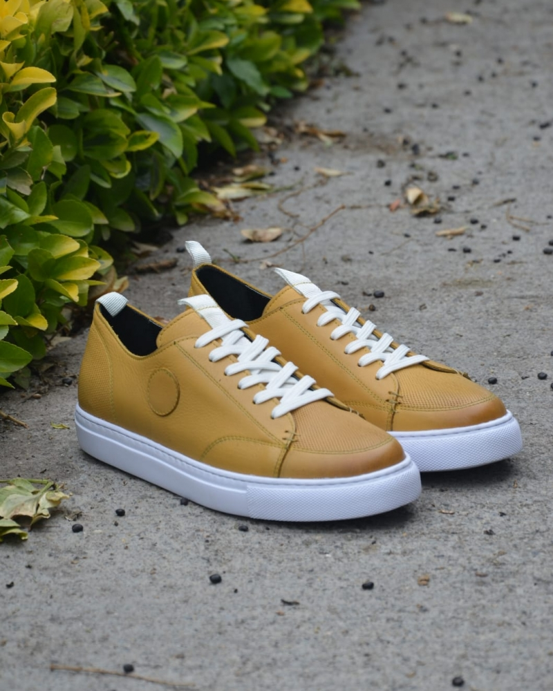 Yellow Mid-Top Sneakers by GentWith.com with Free Worldwide Shipping