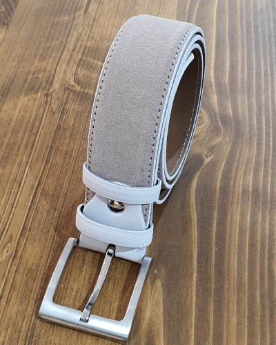 Beige Suede Leather Belt for Men by GentWith.com with Free Worldwide Shipping