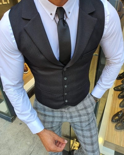 Black Slim Fit Vest for Men by GentWith.com with Free Worldwide Shipping
