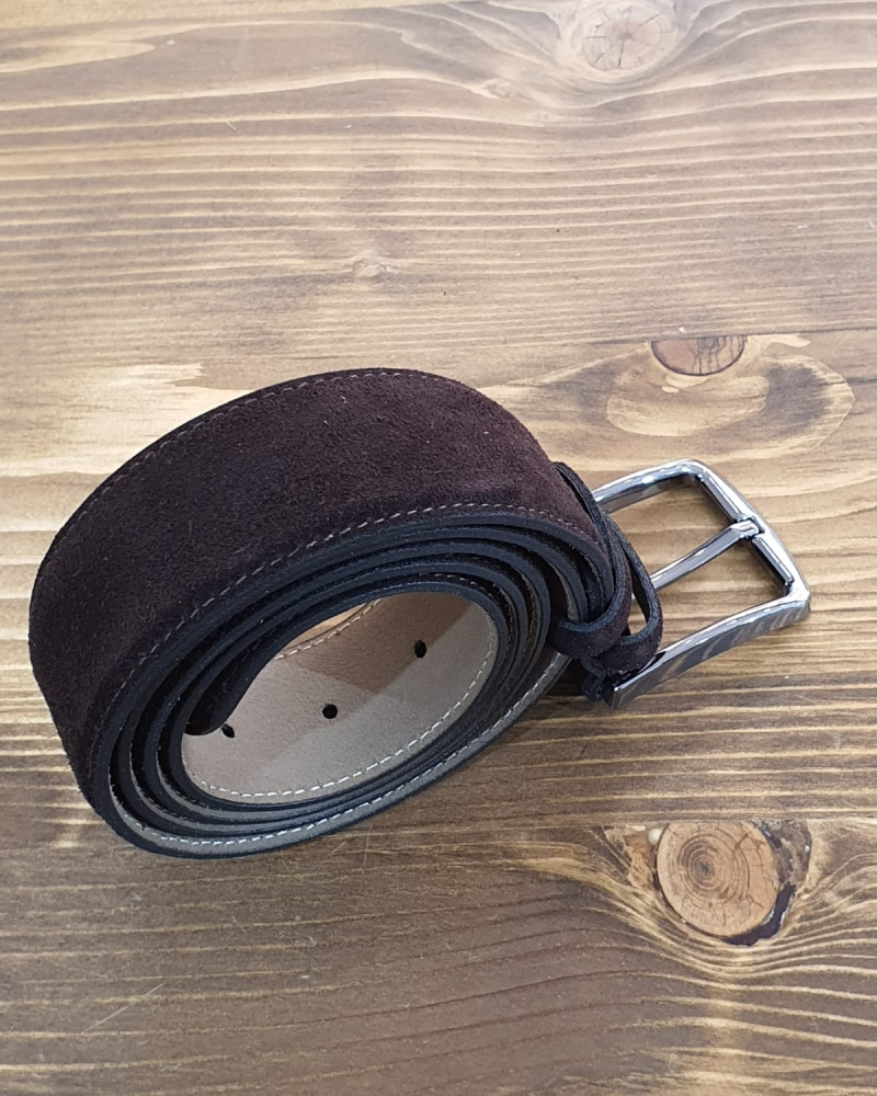 Brown Suede Leather Belt for Men by GentWith.com with Free Worldwide Shipping