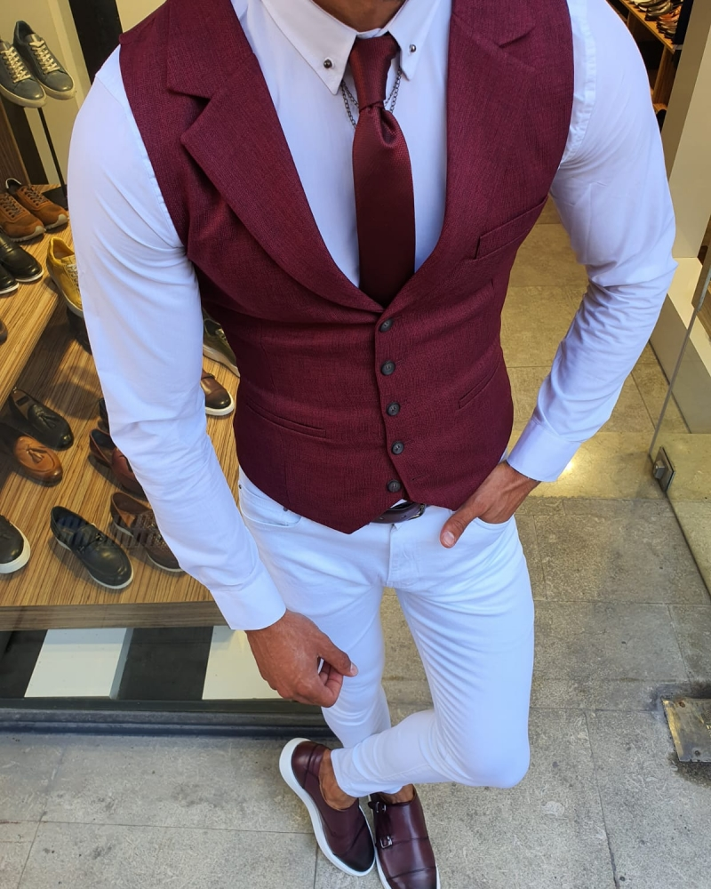 Burgundy Slim Fit Vest by GentWith.com with Free Worldwide Shipping