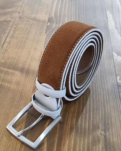 Cinnamon Suede Leather Belt for Men by GentWith.com with Free Worldwide Shipping