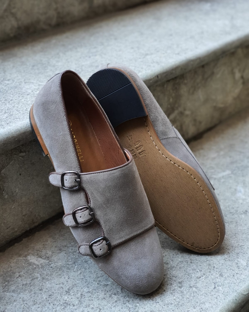 Gray Triple Monk Strap for Men by GentWith.com with Free Worldwide Shipping