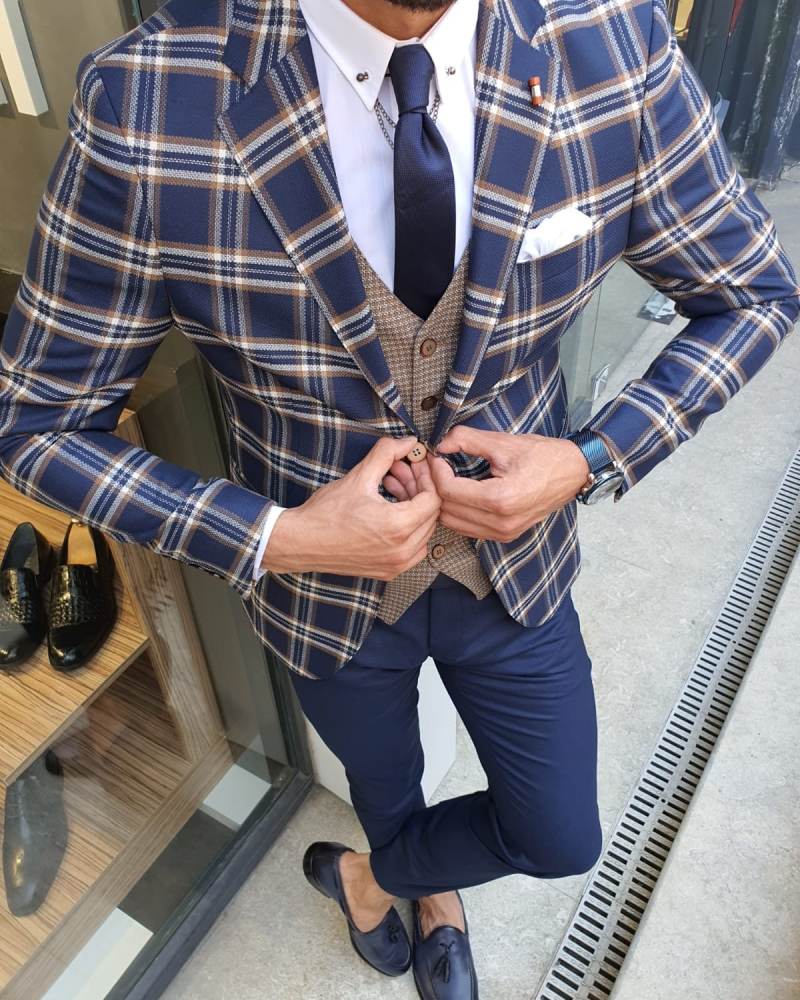 Indigo Slim Fit Plaid Check Suit by GentWith.com with Free Worldwide Shipping